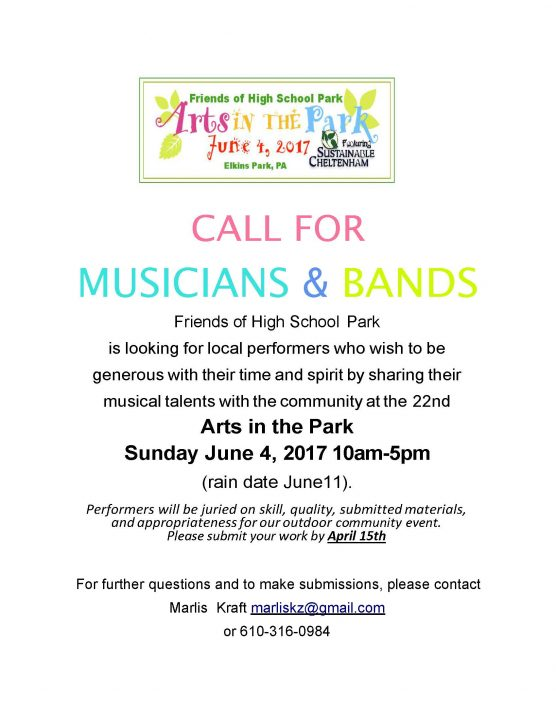Art in the Park 2017 Call for musicians High School Park in Elkins Park
