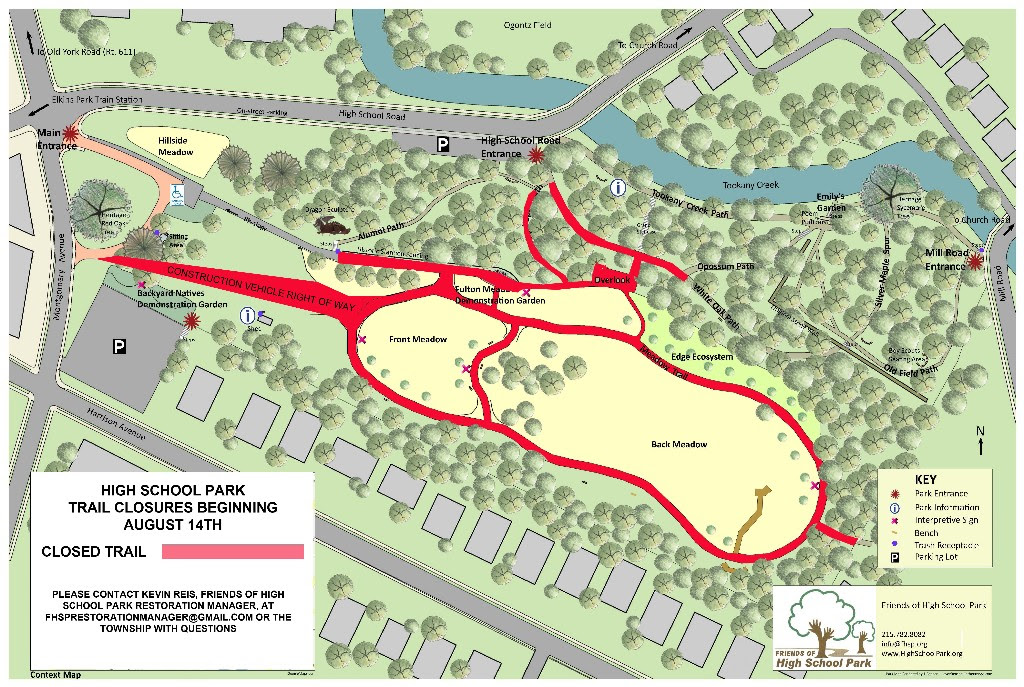 Map of closed paths during Rain Garden construction